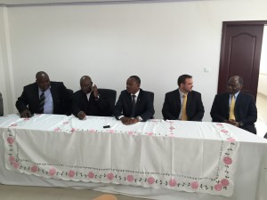 Pictured from left to right: Director General of REGIDESO: Jeroboam Nzikobanyanka; Minister of Finance: Hon. Tabu Abdallah Manirakiza; Minister of Energy and Mines: Hon. Come Manirakiza; Managing Director of Gigawatt Global Burundi: Mr. Michael Fichtenberg; Netherlands Ambassador to Burundi: Mr. Jolke Oppewal